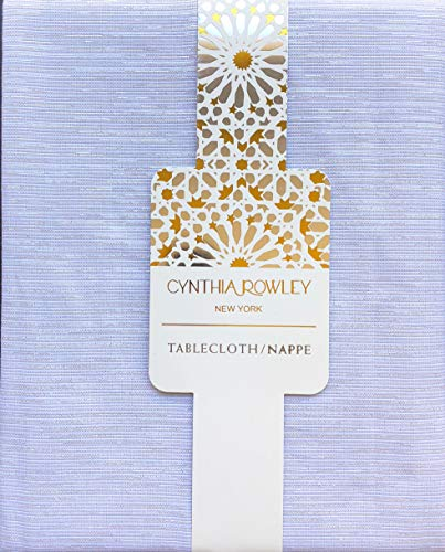 Cynthia Rowley New York Fabric Tablecloth White with Woven Gold Silver Sparkle Tinsel Thread - 52 Inches x 70 Inches