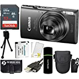 Canon PowerShot ELPH 360 HS 20.2MP 12x Zoom Full-HD 1080p Wi-Fi Digital Camera (Black) + SanDisk 32GB Card + Reader + Spare Battery + Case + Accessory Bundle