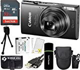 CanonPowerShot ELPH 360 HS 20.2MP 12x Zoom Full-HD 1080p Wi-Fi Digital Camera (Black) + SanDisk 32GB Card + Reader + Spare Battery + Case + Accessory Bundle