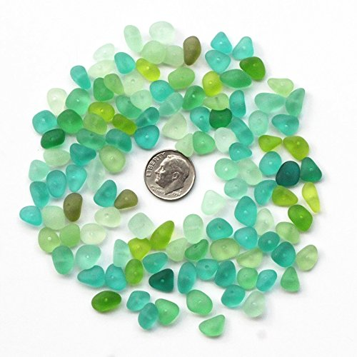 - 30 Piece Center Drilled Sea Glass Beads/ Beach Glass Beads For Jewelry Making ( Mini Size / 8-10 mm ) (Green)