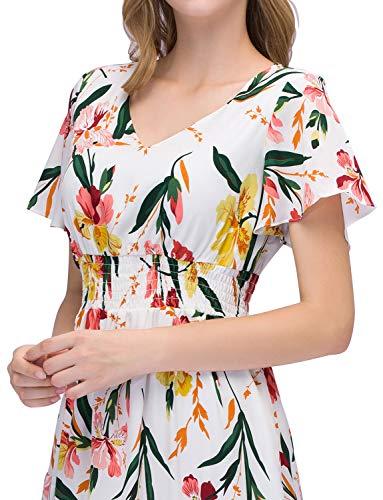Con Flower Spiaggia Gardenwed Estivo Corte Stampa Maxi White Abiti Scollo Partito Maniche Bohemian V Elegante Vestito Floreale Da Donna Little qxCwHqBO4