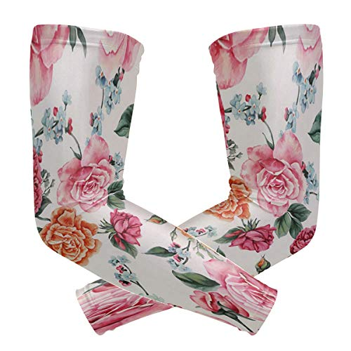 TaTaisu Floral Flower Sleeves to Cover Arms Shooter Men Women UV Protection Sunblock Protective Running Golf Cycling Driving Long Cooling Compression 1 Pair ()