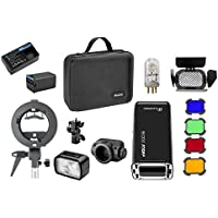 Flashpoint eVOLV 200 TTL Pocket Flash Kit Glow S-type Bracket, Bare Bulb/Speedlite Fresnel Flash Head, BD-07 Barn Door Kit Gel Filters, 2900mAh Lithimu Battery (Godox AD200 Pocket Flash)