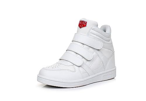 PAMRAY Zapatillas de Cuña Interior Mujer Clásico Deportivos Zapatos Elevador Talón Plataforma 7 CM Blanco 37: Amazon.es: Zapatos y complementos