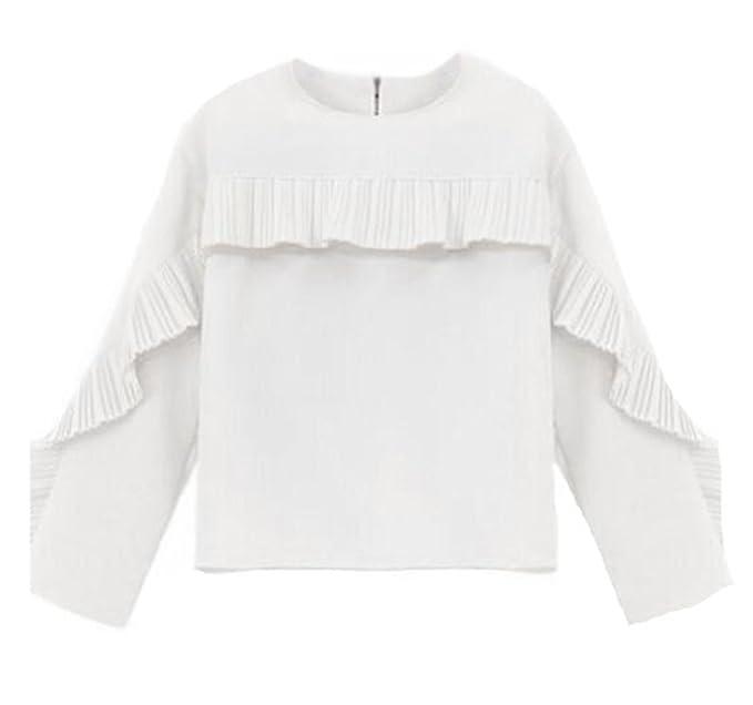 BESTHOO Camisetas De Manga Larga Mujer Blusa Color Sólido Elegantes Camisa Clasicos Vintage Camiseta Con Cuello Redondo Tops Bonitas Ocasionales T-shirt ...
