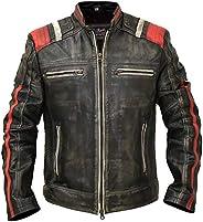 Cafe Racer Vintage Retro Distressed Biker Black Cowhide Leather Jacket - Moto Leather Jacket Men
