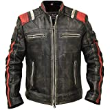 Cafe Racer Vintage Retro Distressed Biker Black Cowhide Leather Jacket - Moto Leather Jacket Men