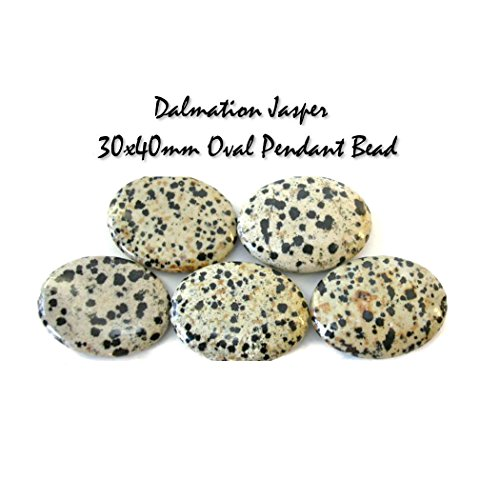 Genuine Dalmation Jasper Gemstone Bead LOT of 3 Oval Focal Beads and 2 Strands of Round Beads, Jewelry Making SET