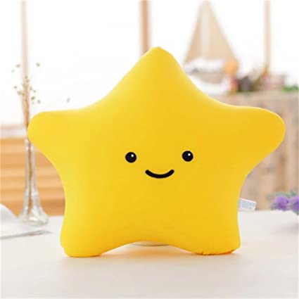 1pc 38cm Colorful Star Shape Toys Star Glowing Led Luminous Light Pillow Soft Relax Gift Smile Body Pillow Valentines Gift Attractive Designs; Plush Light - Up Toys Stuffed Animals & Plush