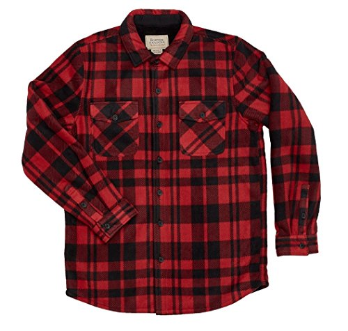 - Boston Traders Mens Sherpa Lined Flannel Shirt (L, Red)