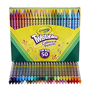 Crayola Twistables Colored Pencils Coloring Set, Gift Age 3 + - 50Count