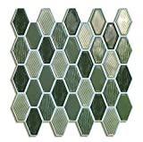 Peel and Stick Backsplash,Stick on Tile in Green (6 Tiles)