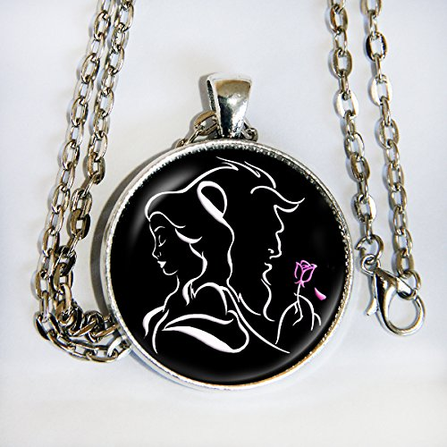 Beauty and the Beast silhouette (Silhouette Black Necklace)