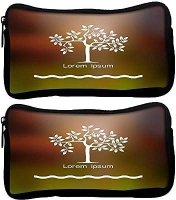 Snoogg Pack De 2 Tela Árbol Estilizado estudiante pluma lápiz caso bolsa de cosméticos bolsa de monedero: Amazon.es: Oficina y papelería