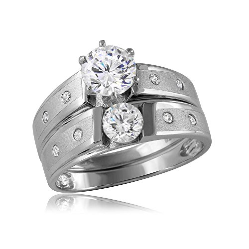 (Princess Kylie Two Piece Round Tension Set Cubic Zirconia Flush Set Band Wedding Ring Sterling Silver Size 7)