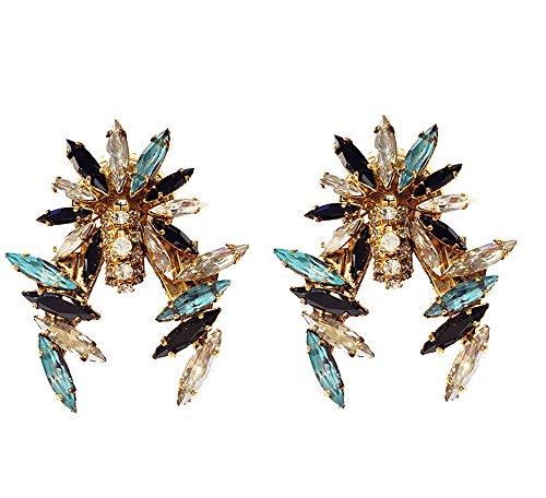 VICKISARGE Boucles d'Oreilles Plaqué Or Cristal Transparent Femme