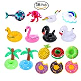 16 Pack Inflatable Drink Holders for Pool Party Kids Adults - Rainbow Unicorn Flamingo Mermaid Palm Tree Donuts Pineapple Float Coasters