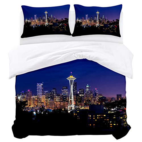 BABE MAPS 3 Piece King Size Duvet Cover Set Seattle Space Needle Bedding Sets Ultra Soft Breathable Extremely Durable Twill Plush for Childrens/Kids/Teens/Adults]()