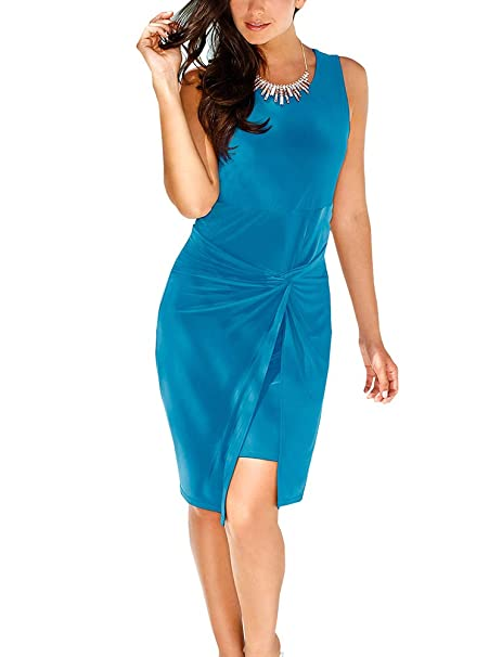 88af1f4dc9f6 Women s Sleeveless Bodycon Dresses - Unique Ruched Knot Knee-Length Sheath  Sundress at Amazon Women s Clothing store