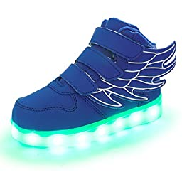 SLEVEL LED Light Up Shoes USB Flashing Sneakers for Kids Boys Girls(30Blue9)