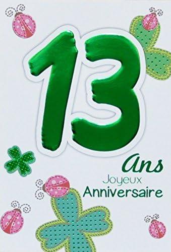 Age Mv 69 2013 Carte Joyeux Anniversaire 13 Ans Ados Garcon Fille Motif Porte Bonheur Trefles A Quatre Feuilles Coccinelles Amazon Fr Fournitures De Bureau