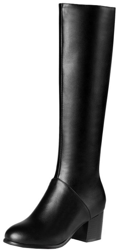 Mofri Women's Dressy Block Medium Heel Round Toe Side Zipper Under The Knee High Riding Boots (Black, 6.5 B(M) US)