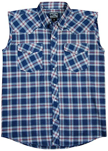 Men's Classic Plaid Sleeveless Western Shirt | Snap-Front (XX-Large, Flag (35))