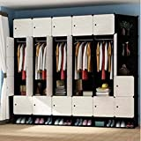 Yigui Portable Clothes Closet Wardrobe Bedroom Armoire Dresser Cube Storage Organizer, 27 Cubes&5 Hanging Sections+Shoebox