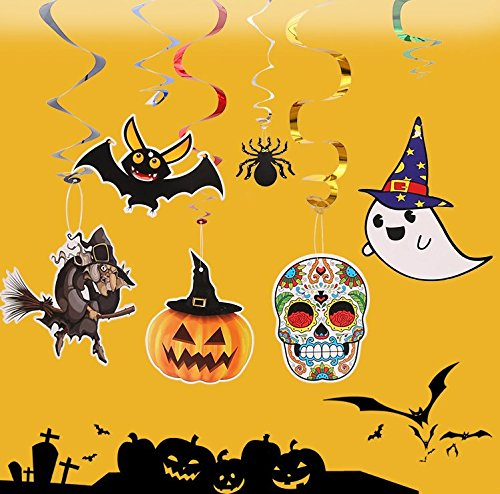 Set of 6 Scary Halloween Party Decor Pumpkin,Witches,Spider,Bats,Ghost,Skeleton Swirl Hanging DIY Decoration Halloween Photo Booth Props Party (Diy Halloween Spider Prop)