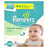 Baby : Pampers Baby Wipes Natural Clean (Unscented) 9X Refill, 648 Diaper Wipes