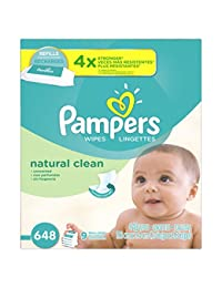 Pampers Baby Wipes Natural Clean (Unscented) 9X Refill, 648 Count BOBEBE Online Baby Store From New York to Miami and Los Angeles