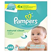 Pampers Baby Wipes Natural Clean (Unscented) 9X Refill, 648 Diaper Wipes