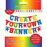 """Fun Rainbow Birthday Party Customizable Letter Banner Decoration, Pack of 84, Multi , Pkg. Size 7"""" x 5.5"""" cardboard paper"""