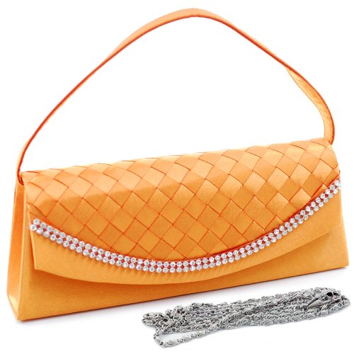 Clutch Evening Design Bag Dasein Women's Woven w Rhinestones amp; Orange Purse F15wnAxSUq