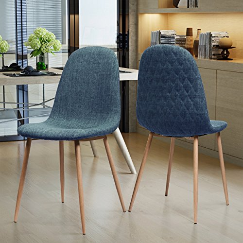 Camden Mid Century Muted Blue Fabric Dining Chairs with Light Walnut Wood Finished Legs (Set of 2) Dark Walnut Finished Wood