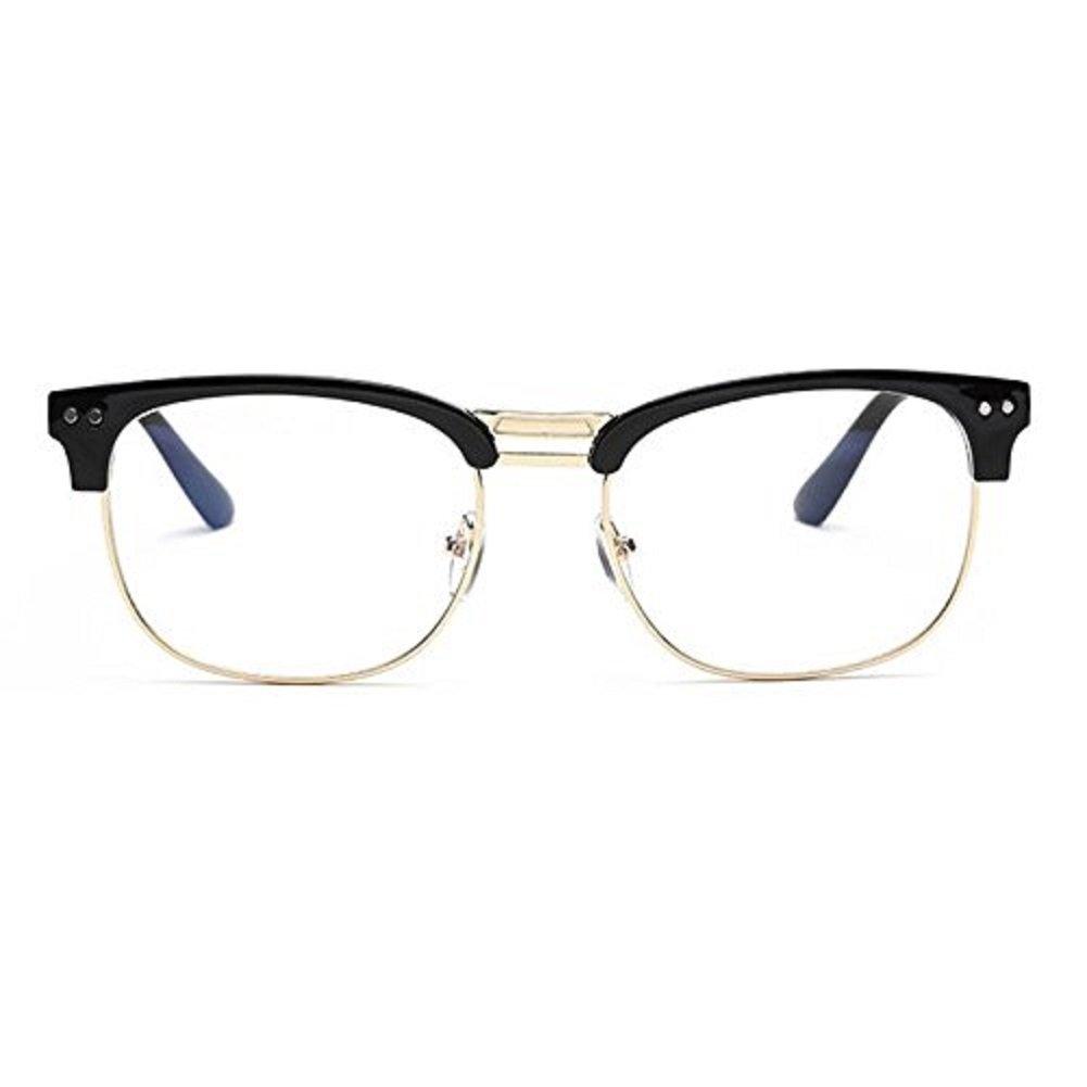 90feb7b089b Amazon.com  Phoenixlen Glasses hipster Black Gold Fashion Vintage Retro  Classic Half frame glasses Clear Lens  Clothing