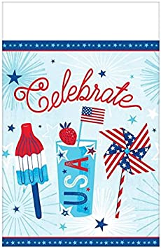Amscan 571949 Party Supplies Celebrate USA Plastic Table cover 54 x 102 Multi