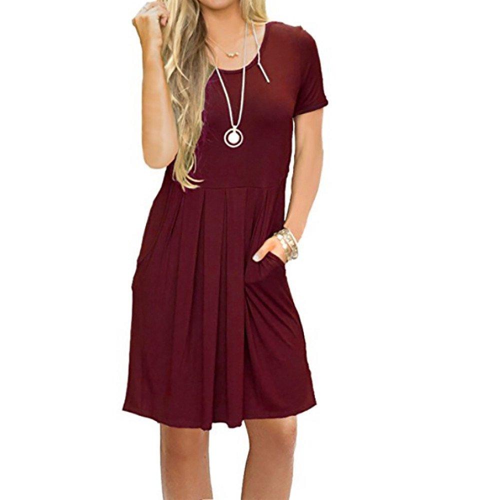 Libermall Women's Dresses Summer Solid Short Sleeve Pocket Beach Sundress Evening Party Swing Dress Wine