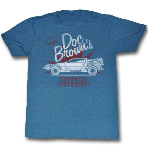 Back To The Future Doc Brown's Custom Car Modifications T-Shirt - Blue (Small) (Twitter Brown Doc)