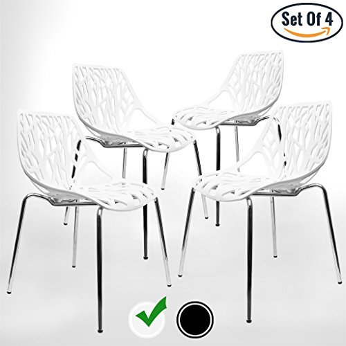 UrbanMod Modern Dining Chairs (Set of 4), White Chairs, Kid-Friendly Birch Chairs, Stackable Modern Chair, Mid Century Dining Chair