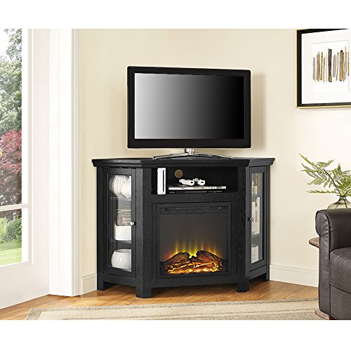 New 4 Foot Wide Fireplace TV Stand-Corner Unit-Black (Fireplace Unit)
