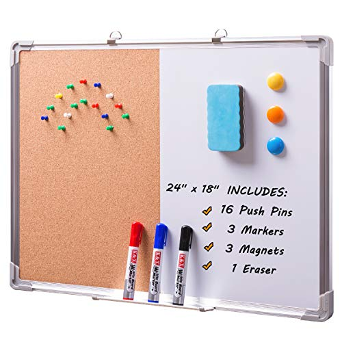 DOEWORKS 24'' x 18'' Magnetic Whiteboard & Cork Board Combo Board Set, Wall Mounted Notice Bulletin Board Dry Erase/Cork Board Combination with Aluminum Frame by DOEWORKS