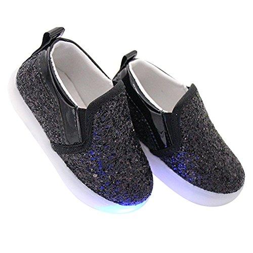 hibote Muchachas del niño de la luz zapatos de Paillette brillante de la princesa de los holgazanes negro