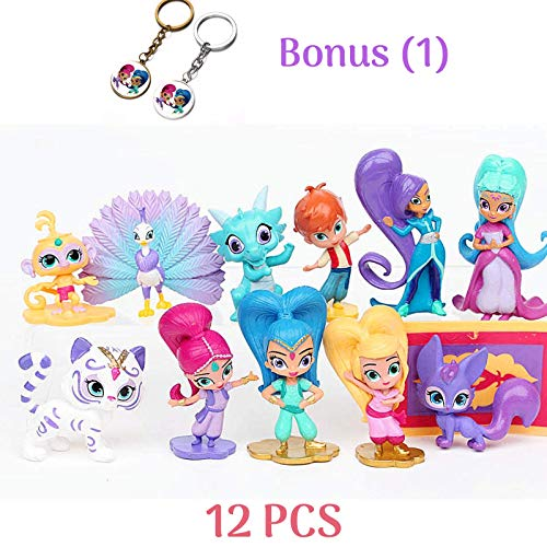 Shimmer and Shine Figure Set 12pcs Cake Toppers Party Supplies Birthday Decorations Genies Shimmer, Shine, Zac,Leah,Tala, Kaz and more Toys + BONUS Keychain by ToysOutletUSA