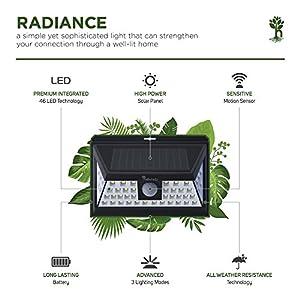Premium Solar Power Light | Wide 46 Bright LED With Smart Motion Sensor For Outdoor Use - BONUS E-Book & Multi-Purpose Velcro Straps for Camping Light | Best For Garden, Patio, Backyard & Garage
