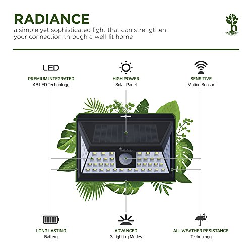 Motion-Sensor-Outdoor-Solar-Light-Home-Security-Dusk-to-Dawn-LED-Lighting-for-Patio-Porch-or-Backyard-Energy-Saving-Waterproof-Outside-Flood-Lights-Includes-Mounting-Screws-and-Velcro-Strap