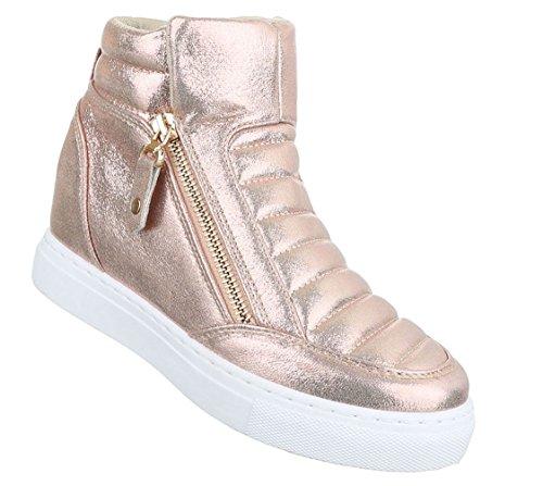 Damen Freizeitschuhe Schuhe Keilabsatz Wedges Sneakers Stiefelette Bronze Rosa Silber 36 37 38 39 40 41 Rosa