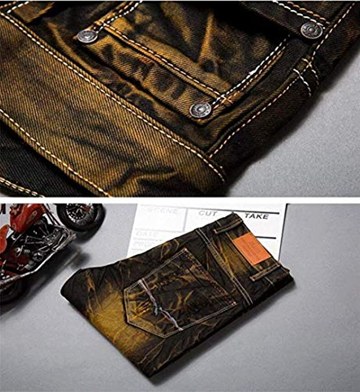 Męskie spodnie jeansowe Biker Destroyed Look Stretch moda męska vintage dżinsy spodnie Denim Hig Ripped spodnie jeansowe spodnie rekreacyjne: Odzież