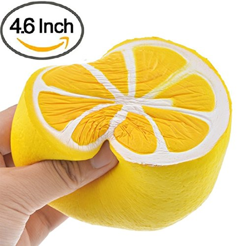 GYOBY Jumbo squishies Super Soft Squishy Toys Slow Rising Lemon Fruit Anti Stress Fidget - Stress Reliever Squeeze - Soft and Cute Squishies Toy - Squishy Kawaii - for Kids and Adults (Yellow)