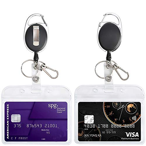 Retractable Reel Clip with id Badge Holder Horizontal Waterproof Card Name Tags Punched Zipper Resealable Clear Plastic Pack of 2 (Horizontal Security Badge Holder)